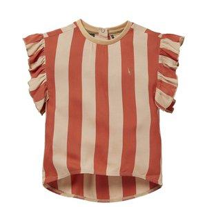 LEVV Levv meisjes t-shirt Nicca Stone Red Sand Stripe
