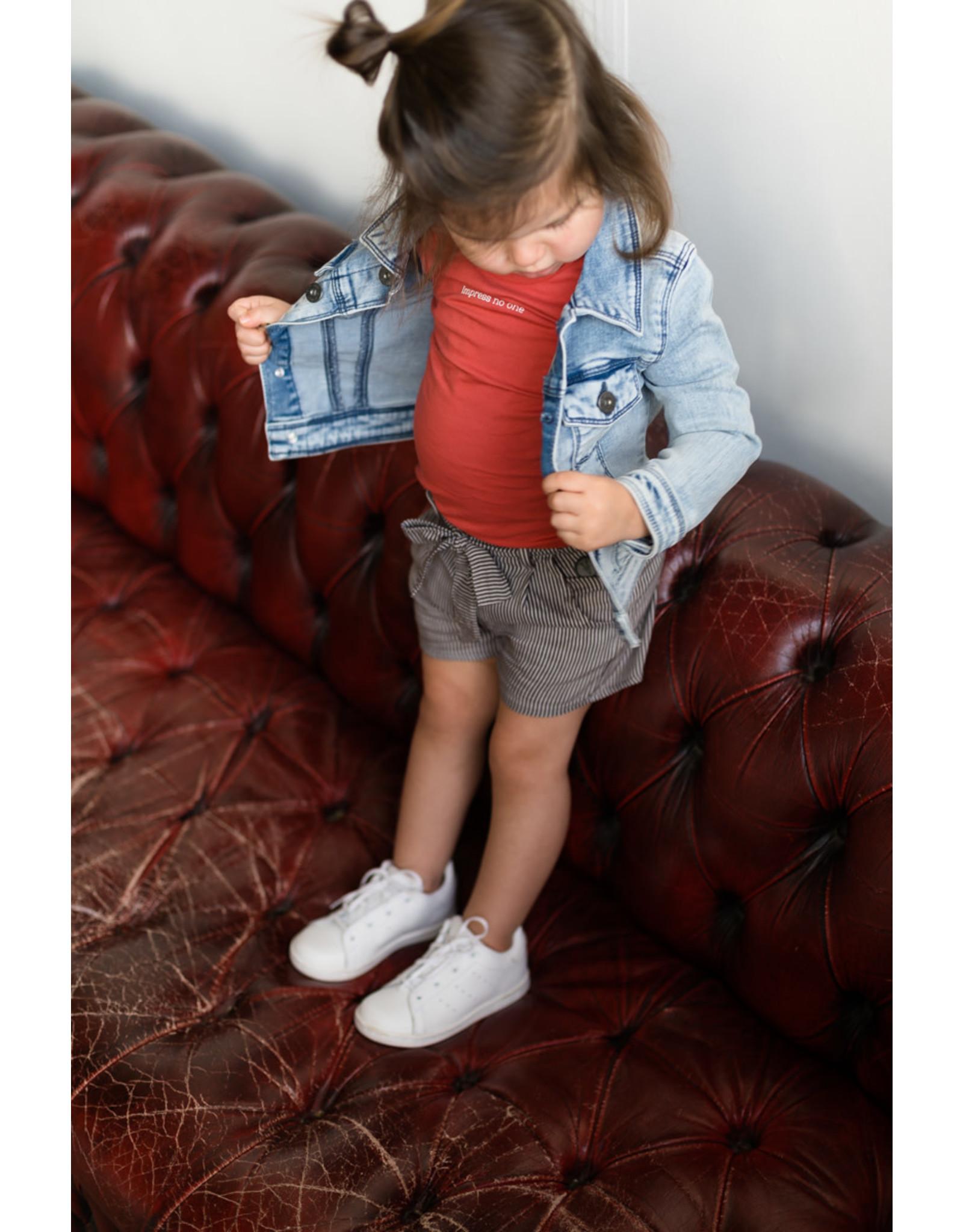 LEVV Levv meisjes korte broek Novi Steel Grey Stripe