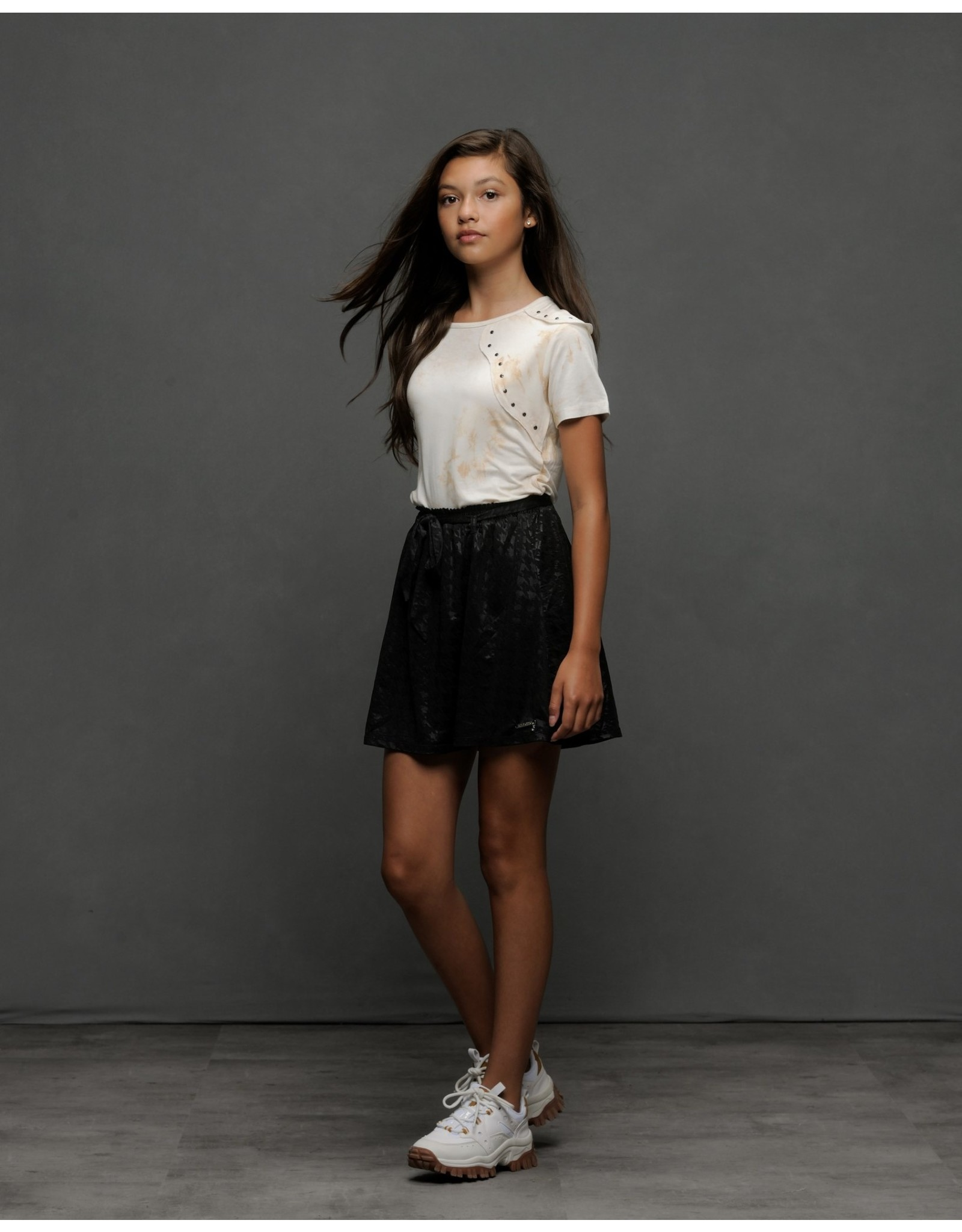 Elle Chic Elle Chic meiden rok Black waxed pied-de-poule