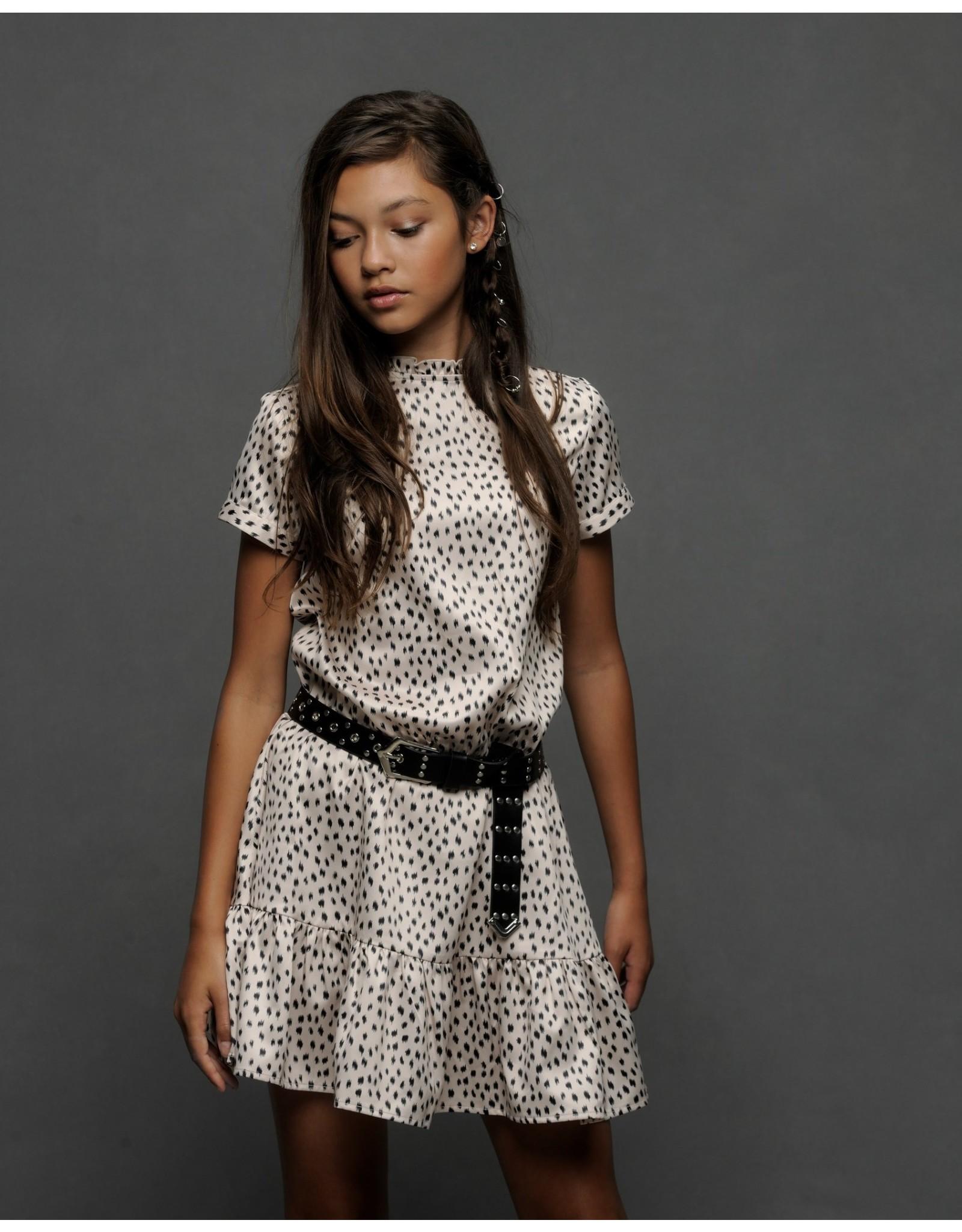 Elle Chic Elle Chic meiden jurk Being Beige Leopard Dots