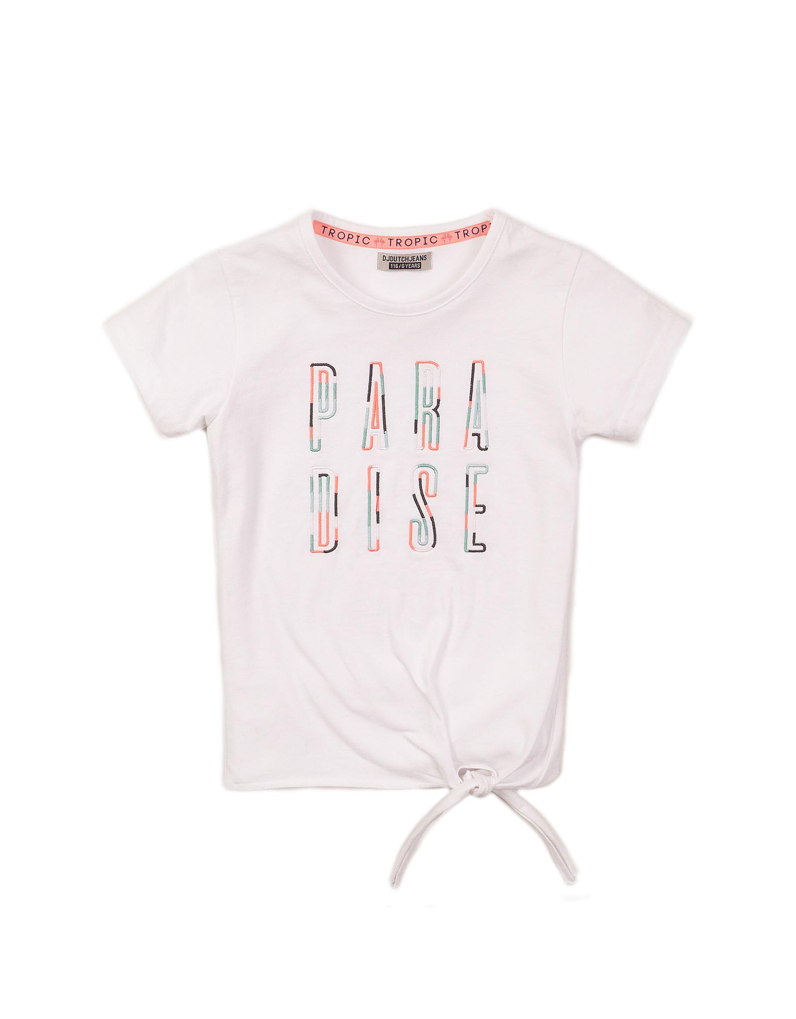 DJ Dutchjeans DJ Dutchjeans meisjes t-shirt Paradise White