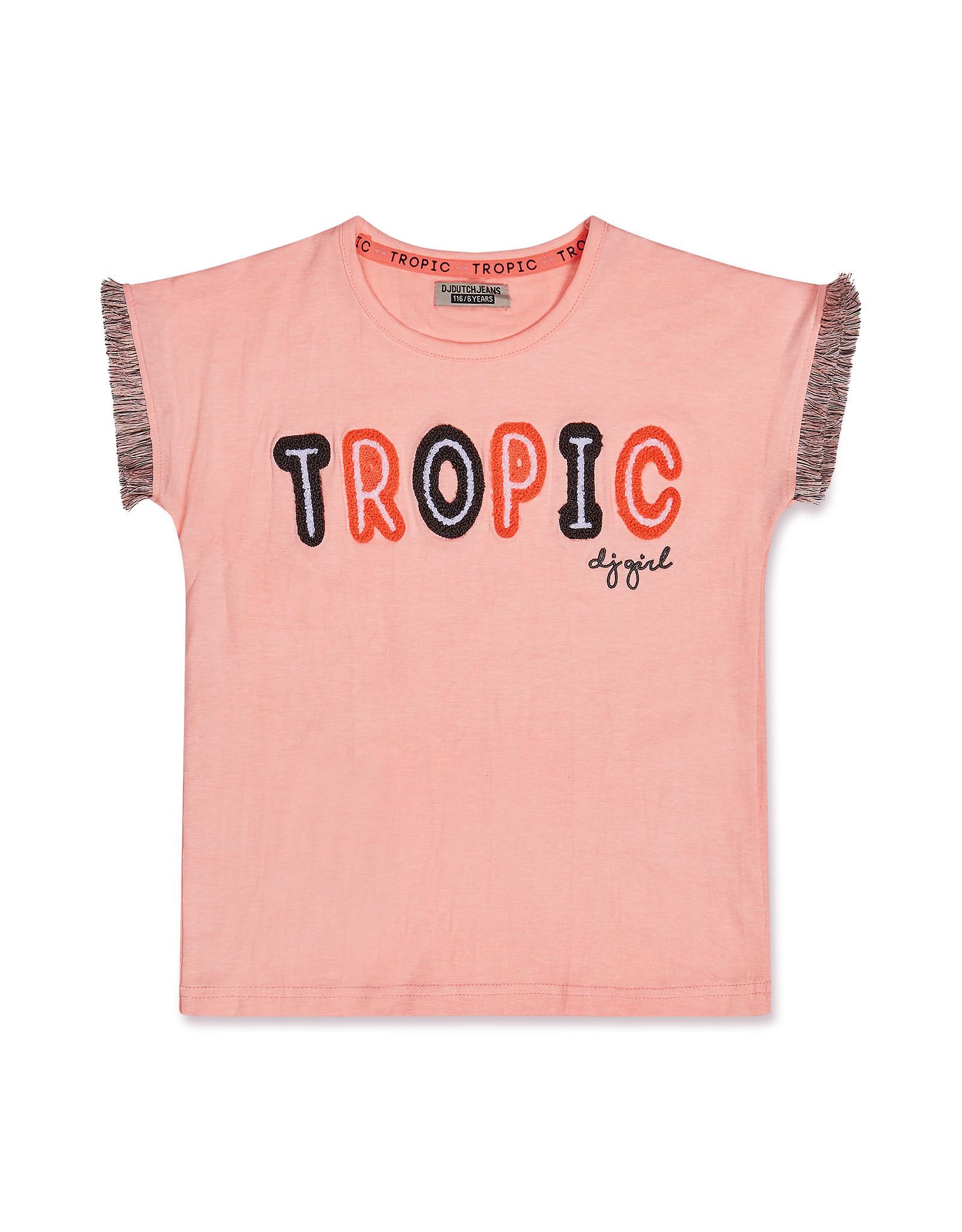 DJ Dutchjeans DJ Dutchjeans meisjes t-shirt Tropic Light Neon Coral