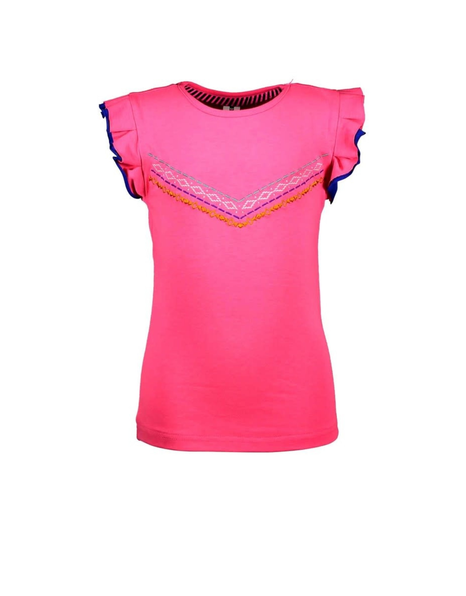 B.Nosy B.Nosy meisjes t-shirt met rouches mouwen Knock Out Pink