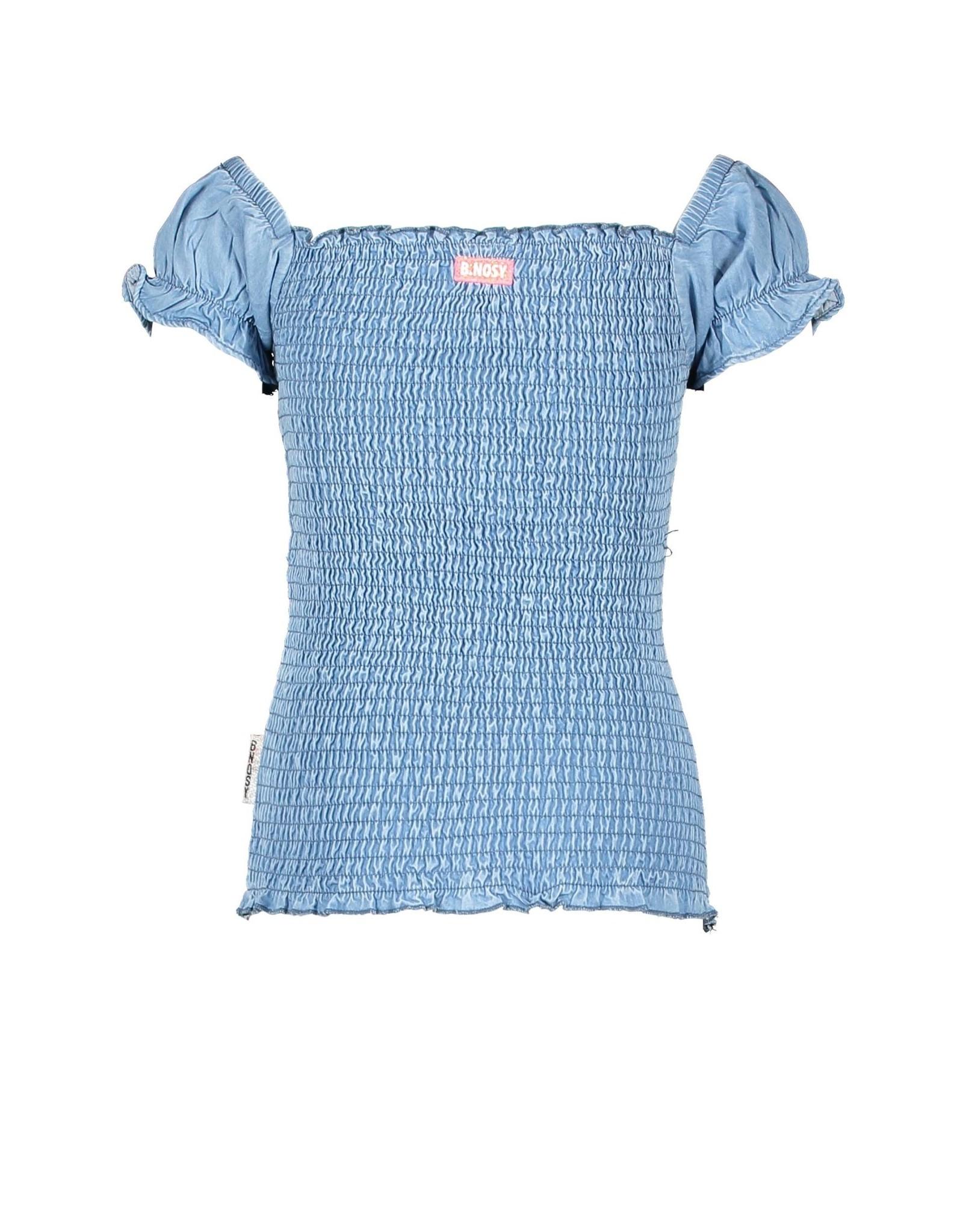 B.Nosy B.Nosy meisjes gesmokt t-shirt Curious Denim