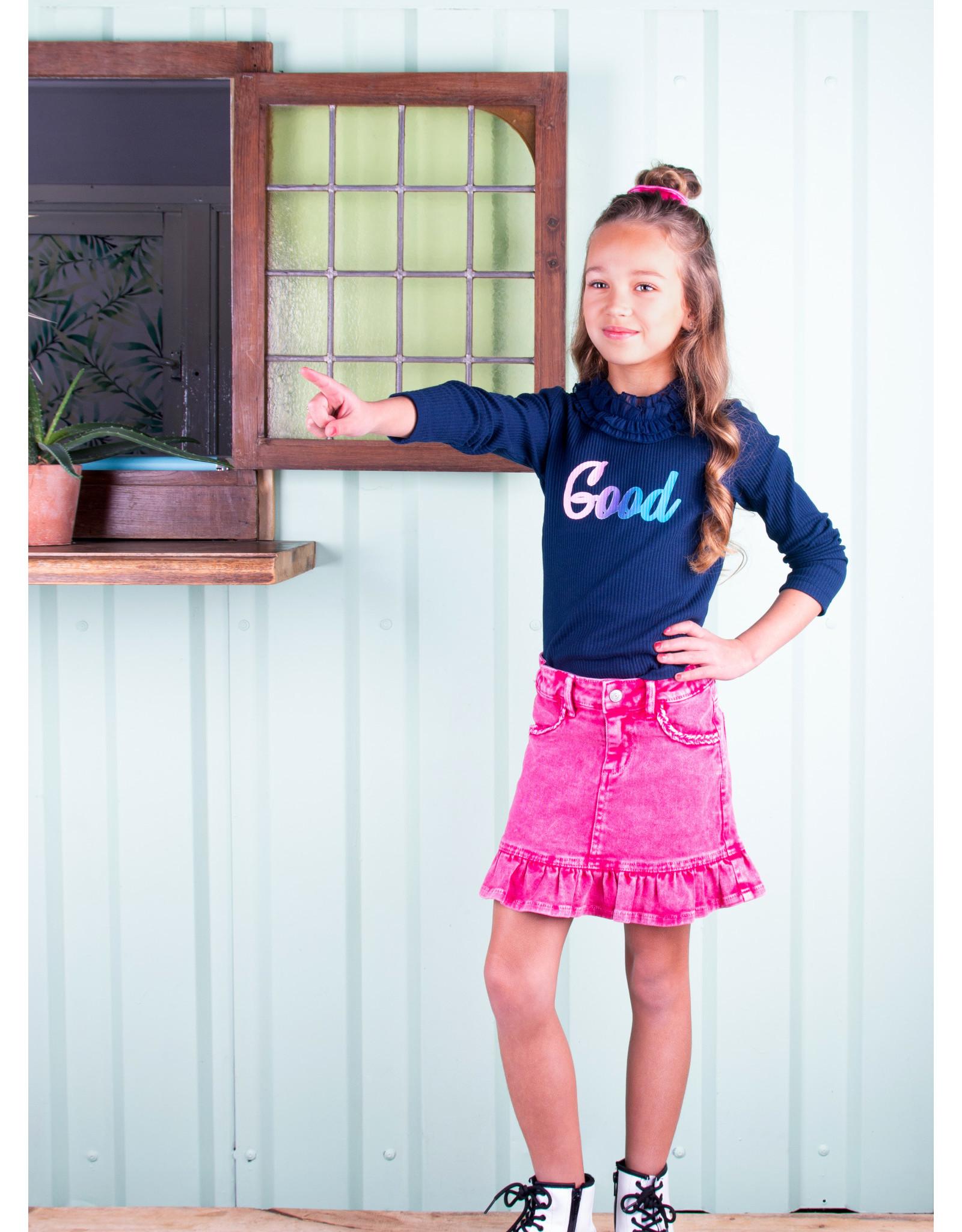 B.Nosy B.Nosy meisjes ribshirt met roeselkraag Space Blue