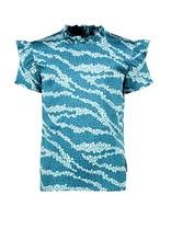 B.Nosy B.Nosy meisjes shirt met rouchmouwtjes Good Zebra