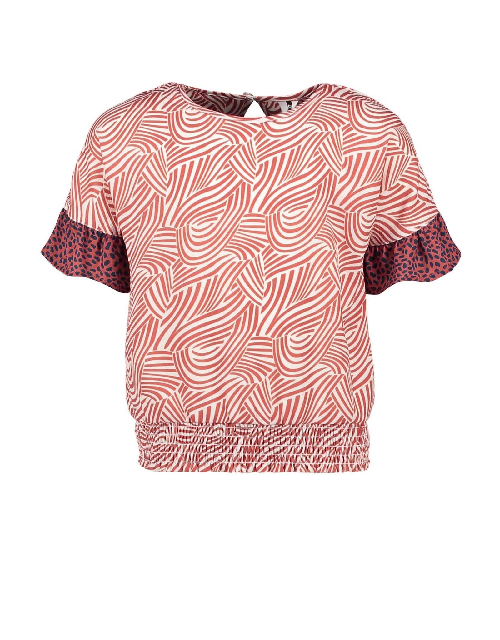 B.Nosy B.Nosy meisjes t-shirt met trompetmouwtjes Mix Zebra