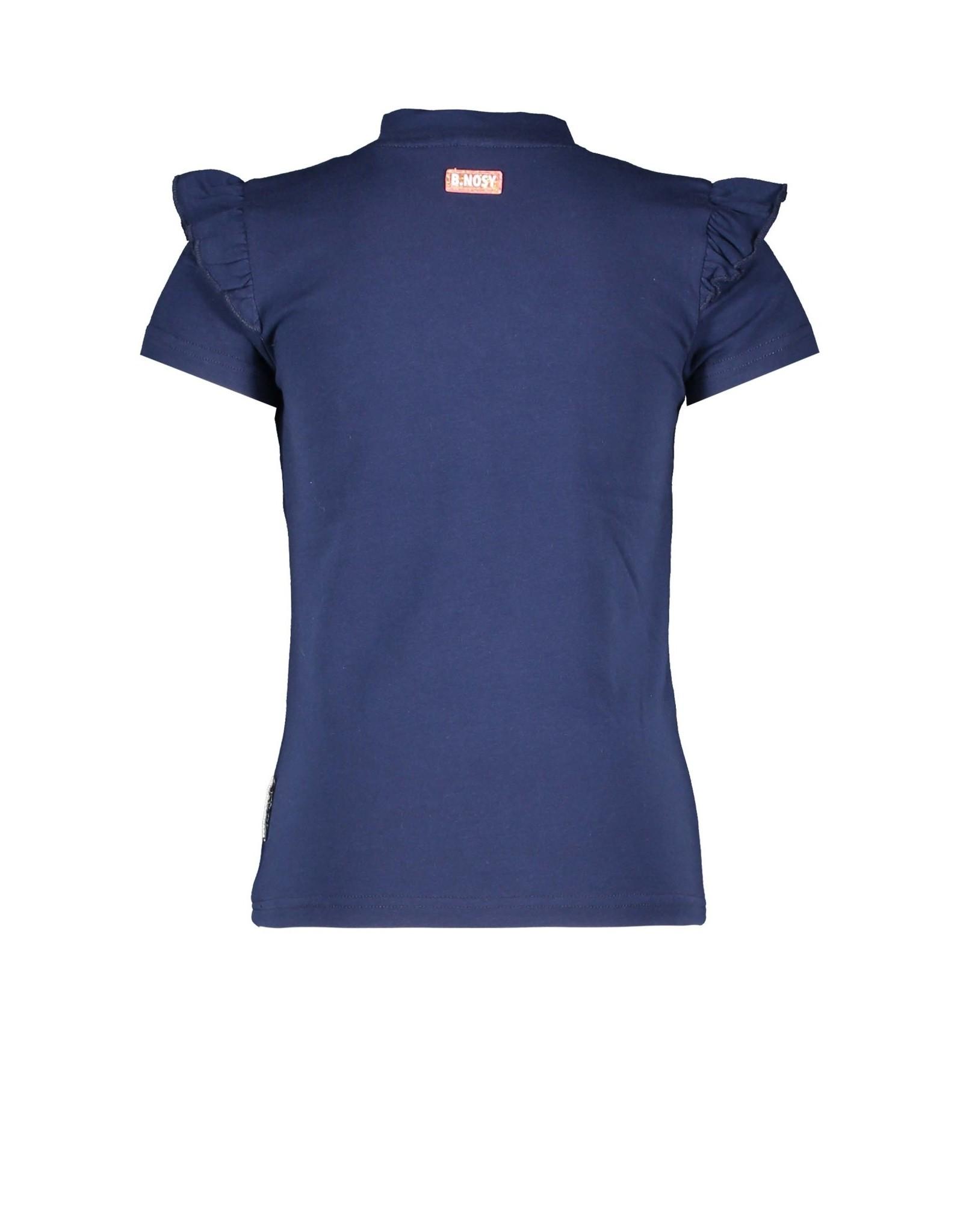 B.Nosy B.Nosy meisjes t-shirt met borduurprint Space Blue