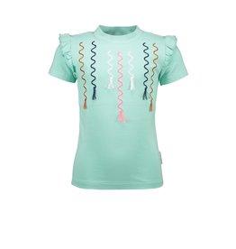 B.Nosy B.Nosy meisjes t-shirt met borduurprint Ice Green