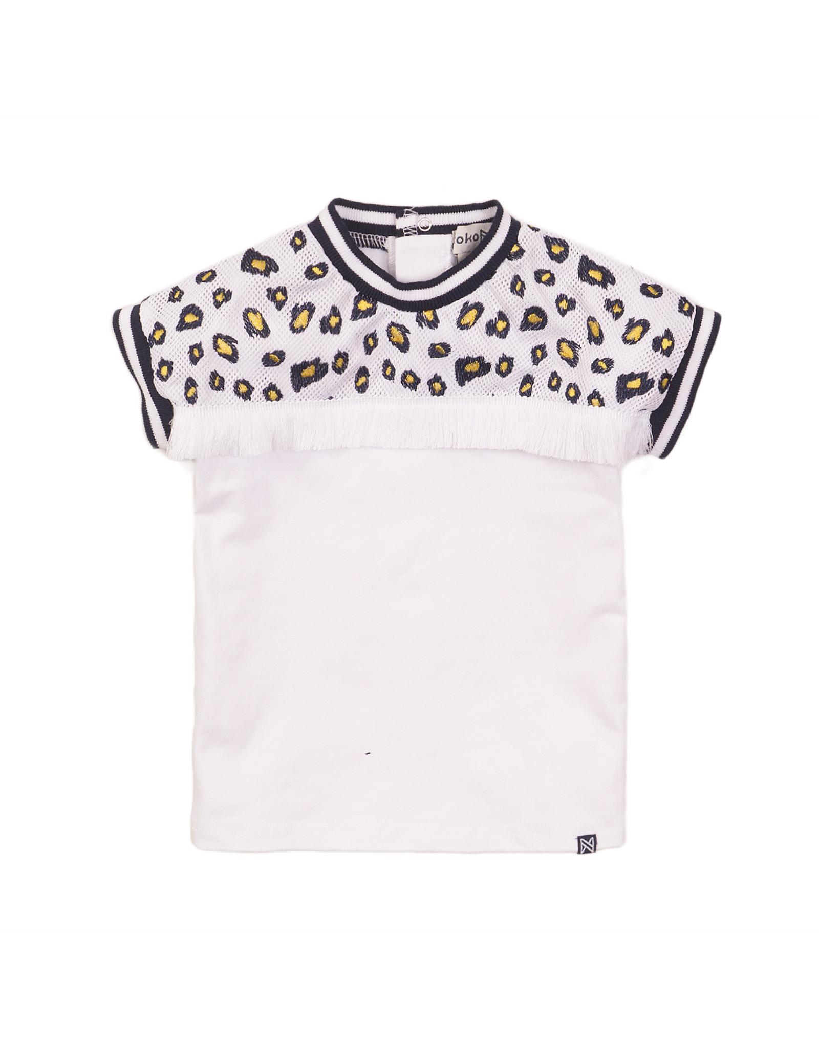 Koko Noko Koko Noko meisjes t-shirt panterprint White
