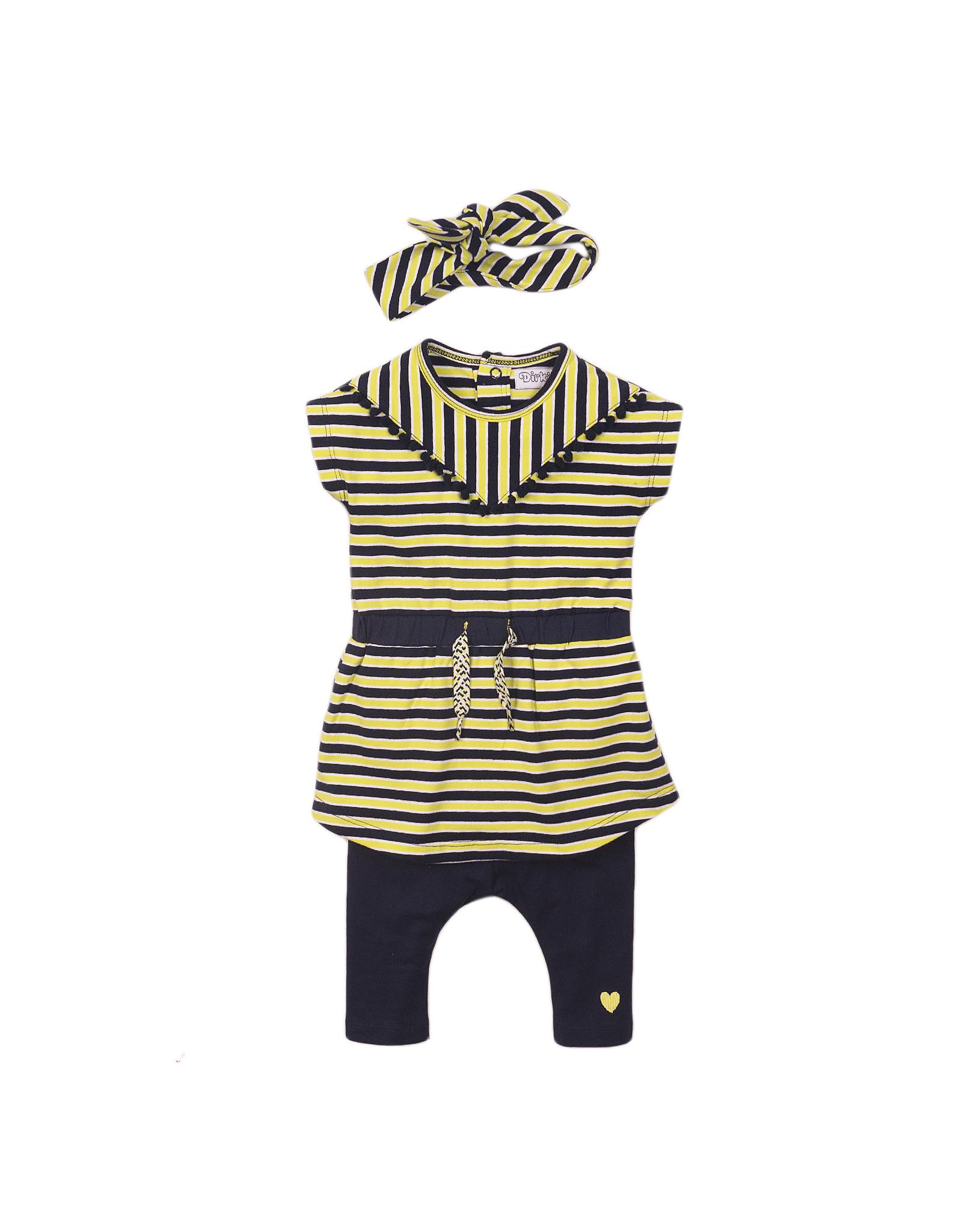 Dirkje Dirkje baby meisjes setje met haarstrik Stripe Navy Yellow