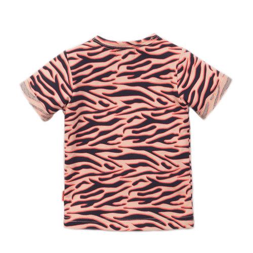 Dirkje Dirkje baby meisjes t-shirt WOW Peach Navy