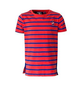 Mister-T Mister-T jongens t-shirt Dennis Stripe Orange/Cobalt
