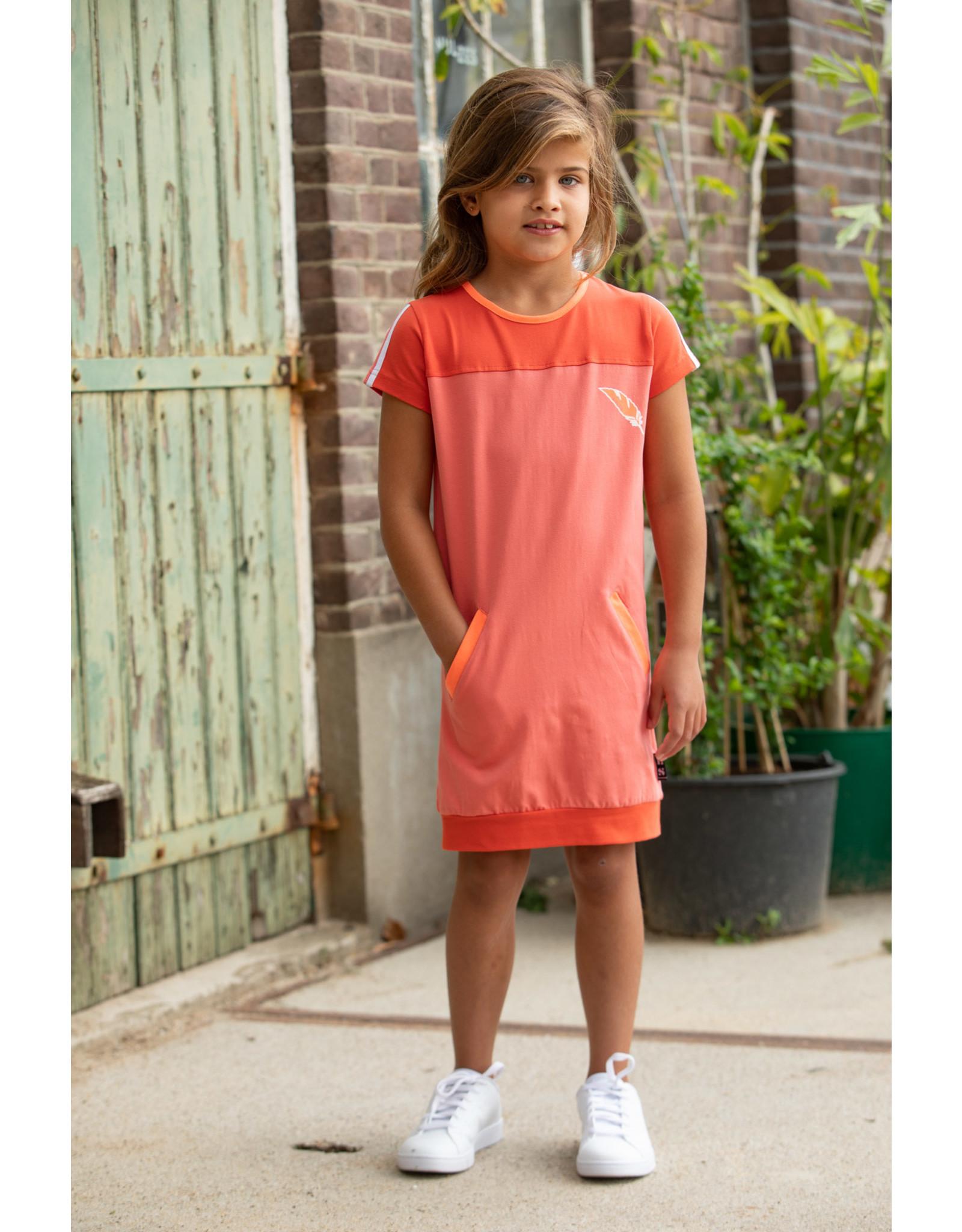 Lovestation meisjes korte mouwen jurk Noami Pink