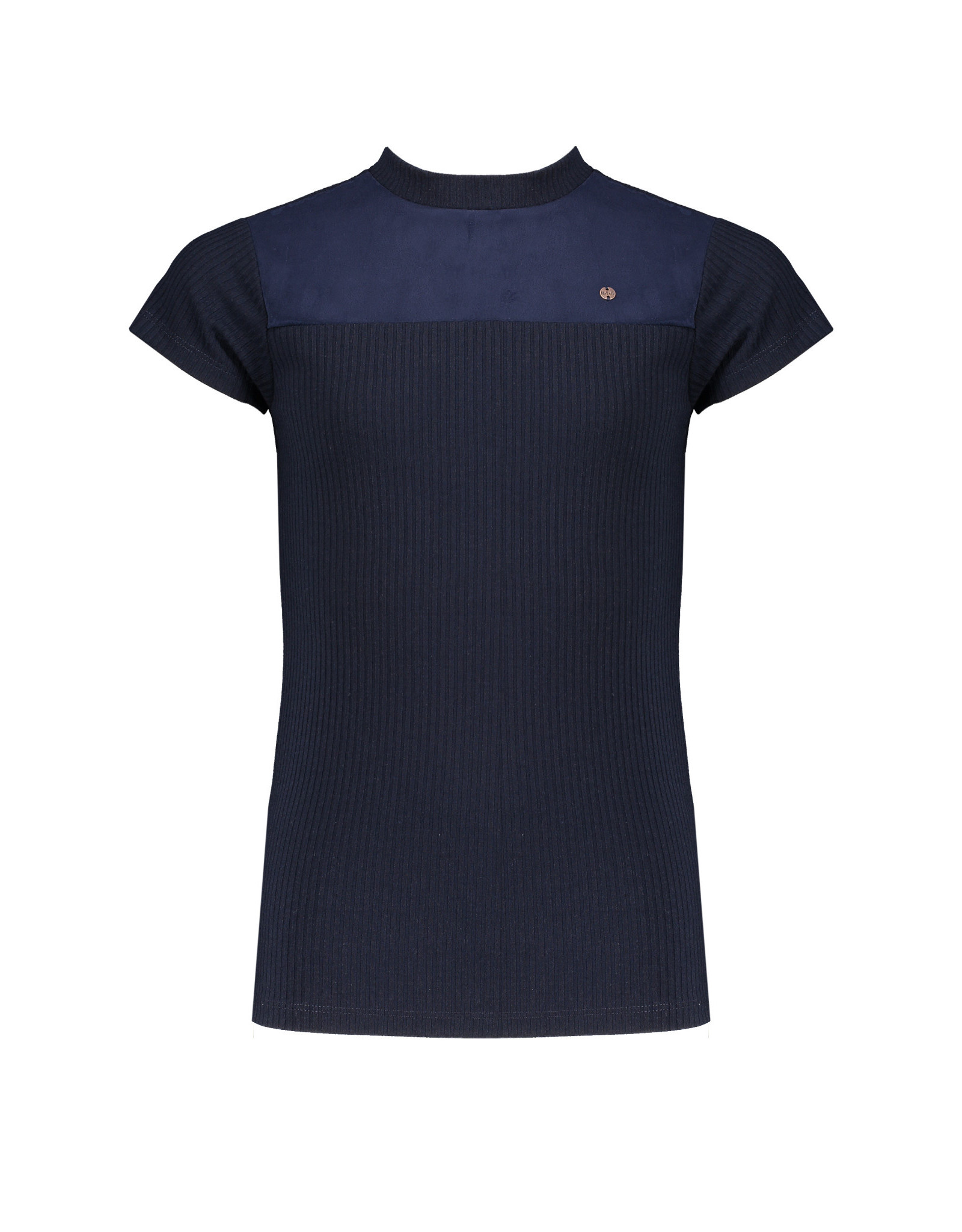NoBell meiden t-shirt met suede stukken Kim Grey Navy