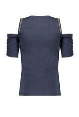 NoBell NoBell meiden jersey t-shirt met open schouders Keddy Grey Navy