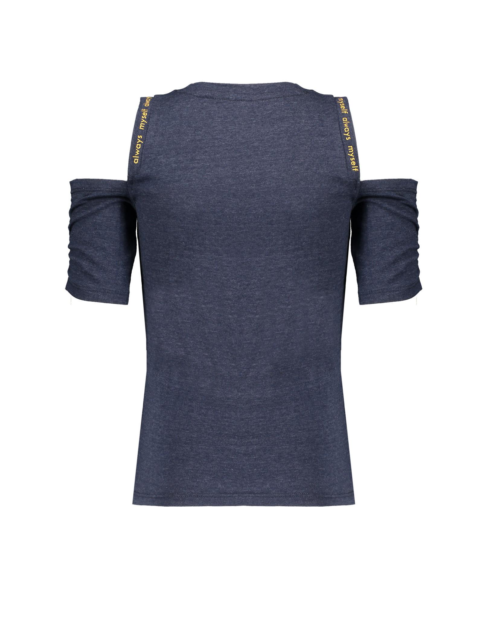 NoBell meiden jersey t-shirt met open schouders Keddy Grey Navy