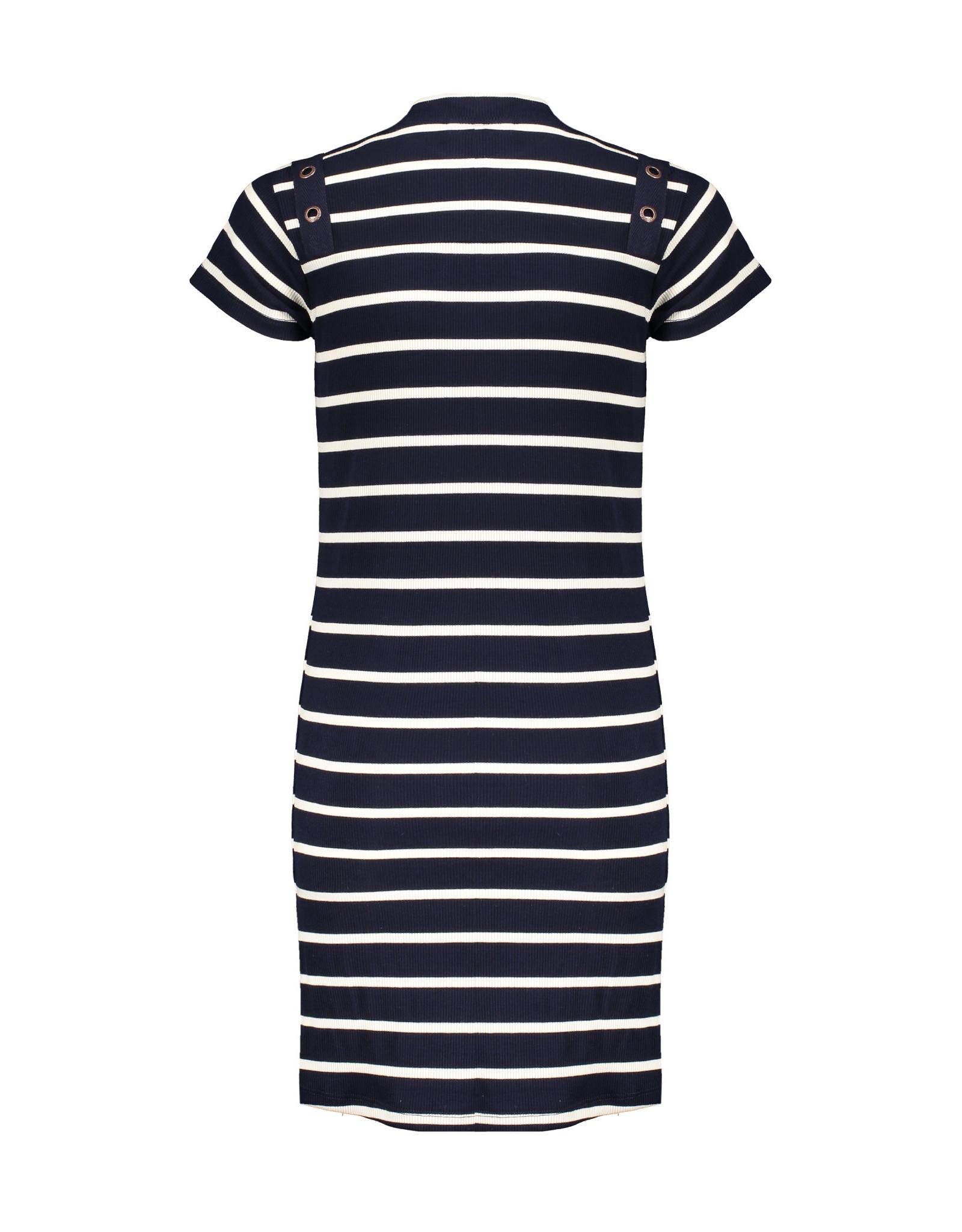 NoBell NoBell meiden jersey rib jurk MizzyB Grey Navy