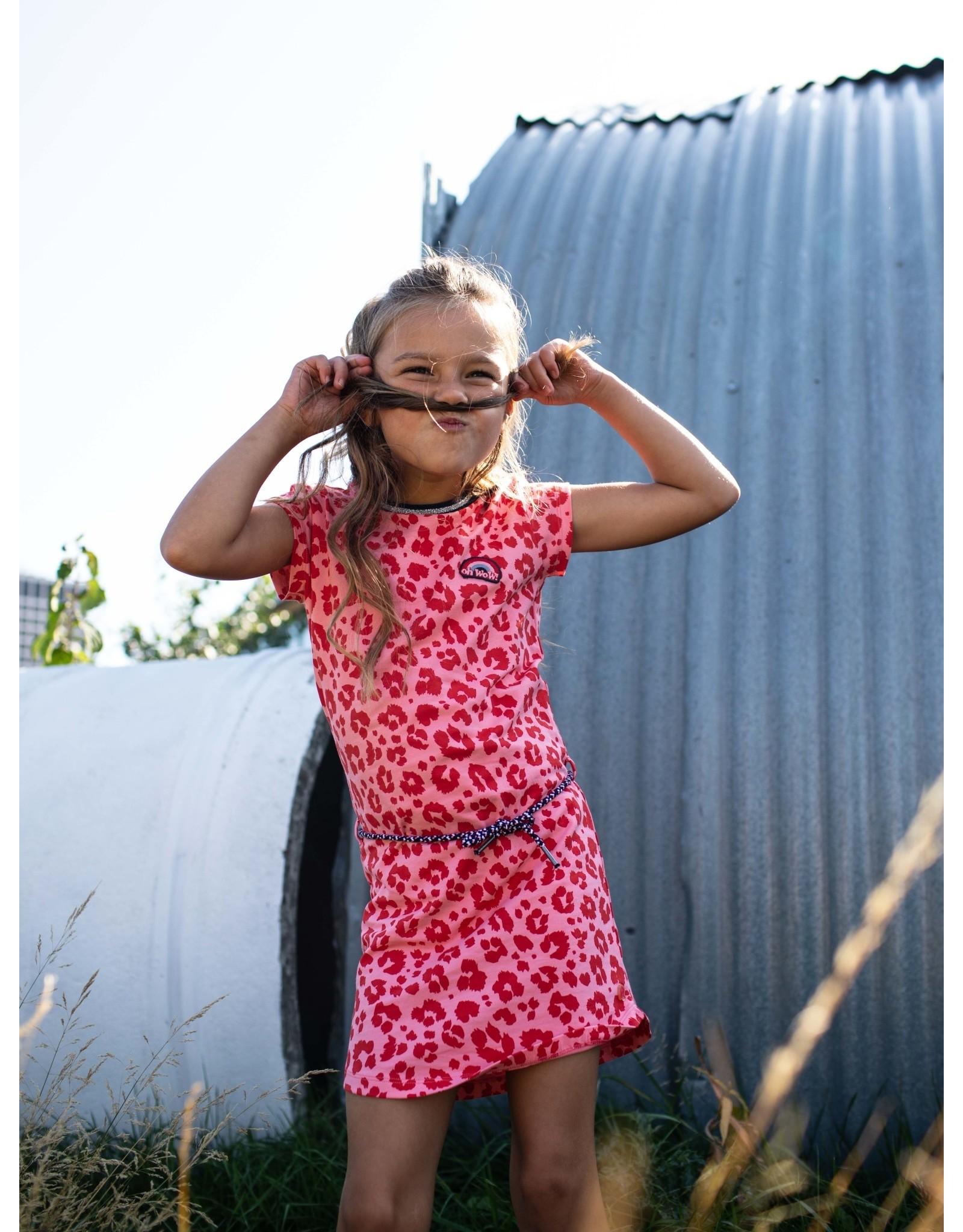 Quapi Quapi meisjes korte mouwen jurk Fab Shell Pink Leopard