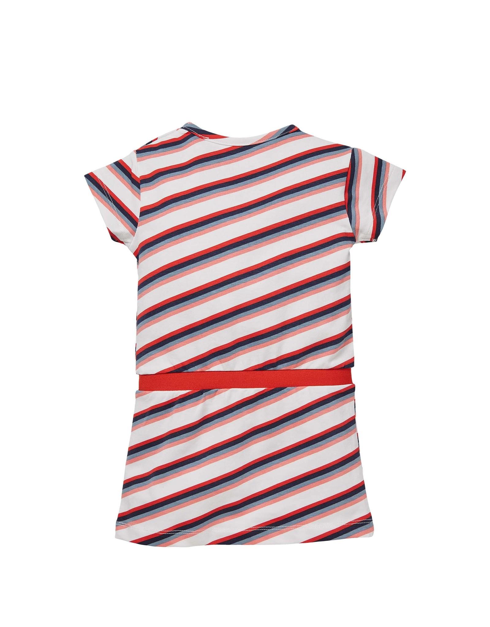 Quapi Quapi baby meisjes korte mouwen jurk Gelize White Multi Stripe