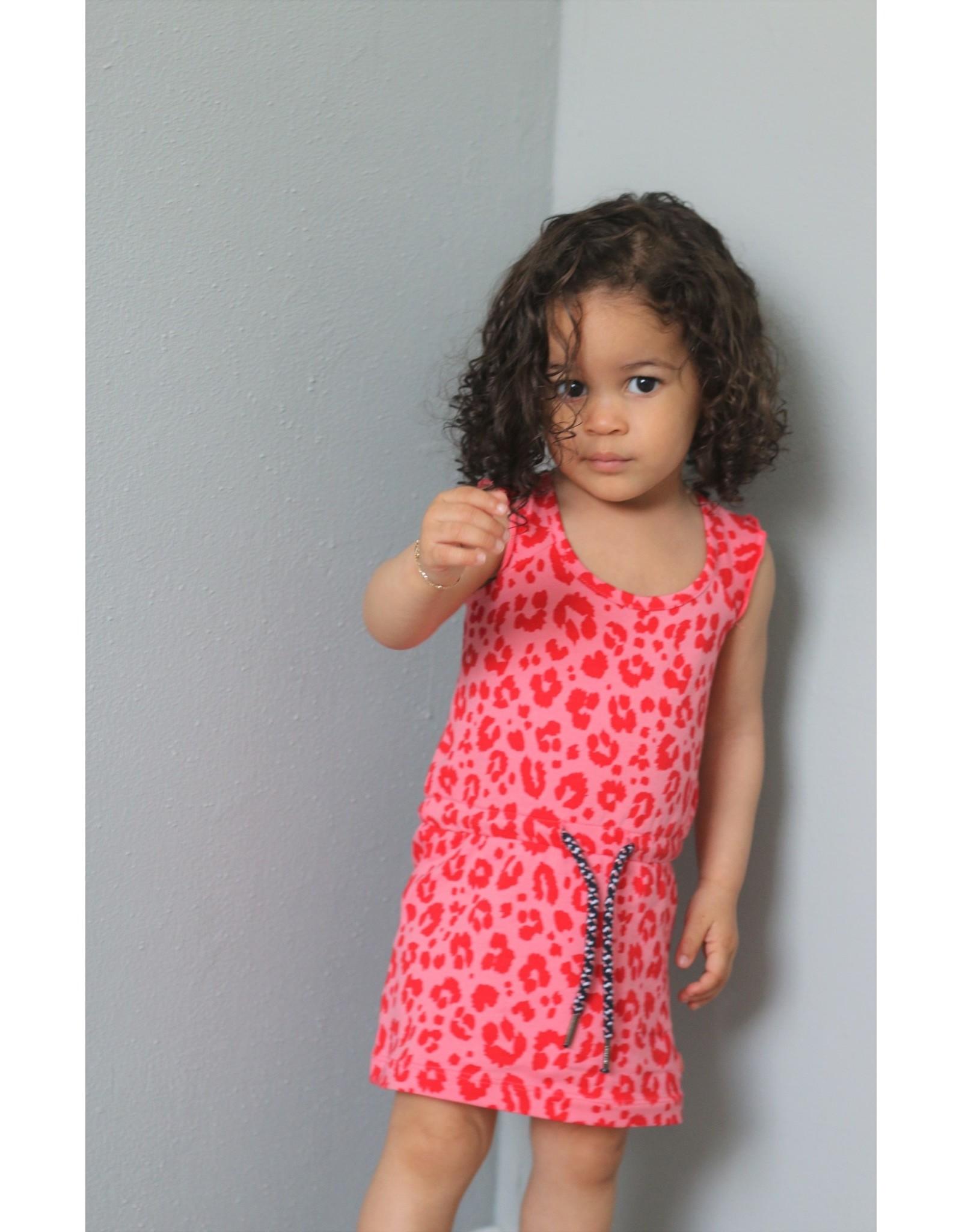 Quapi Quapi baby meisjes mouwloze jurk Gera Shell Pink Leopard