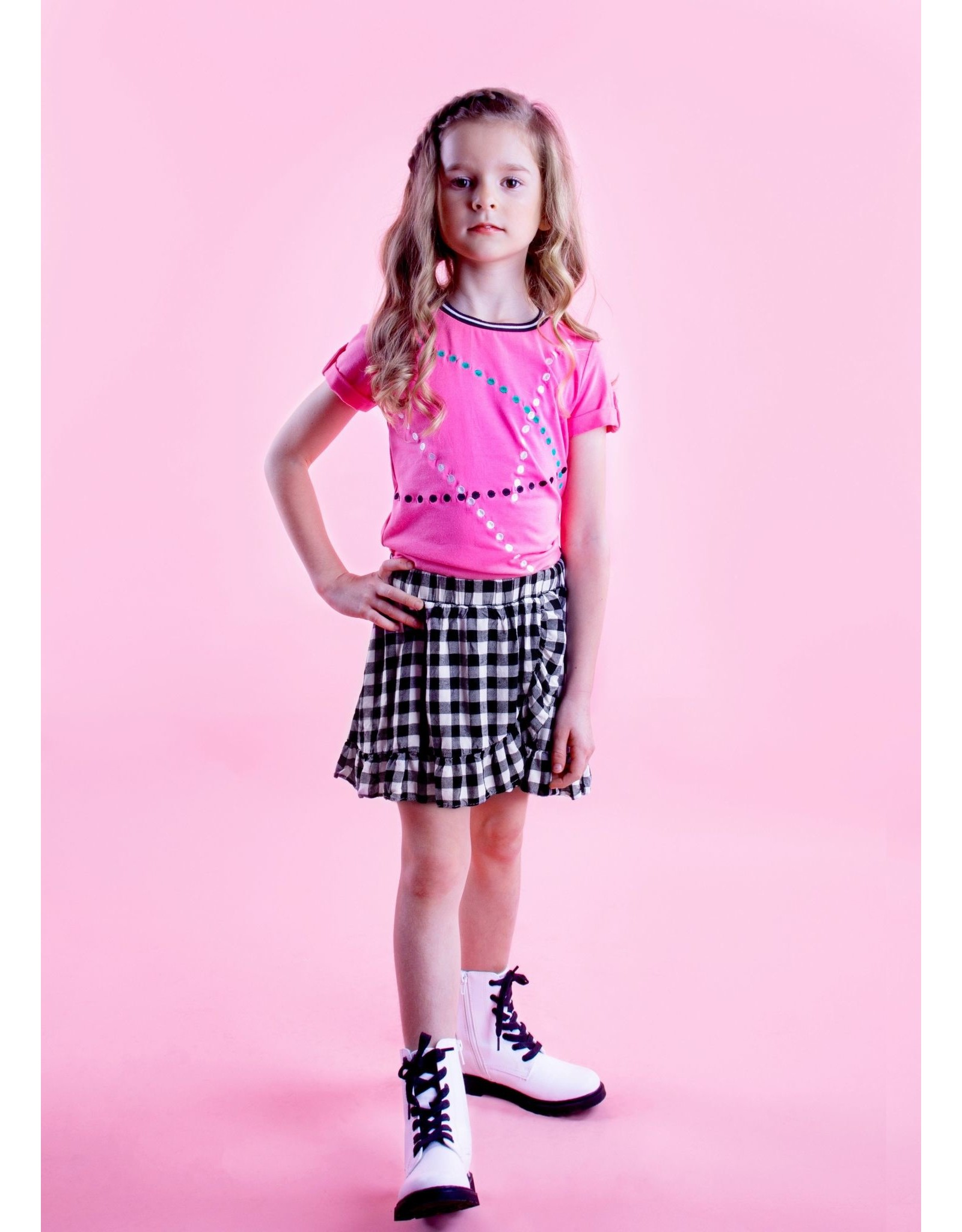 B.Nosy B.Nosy meisjes t-shirt Dots Knock out Pink