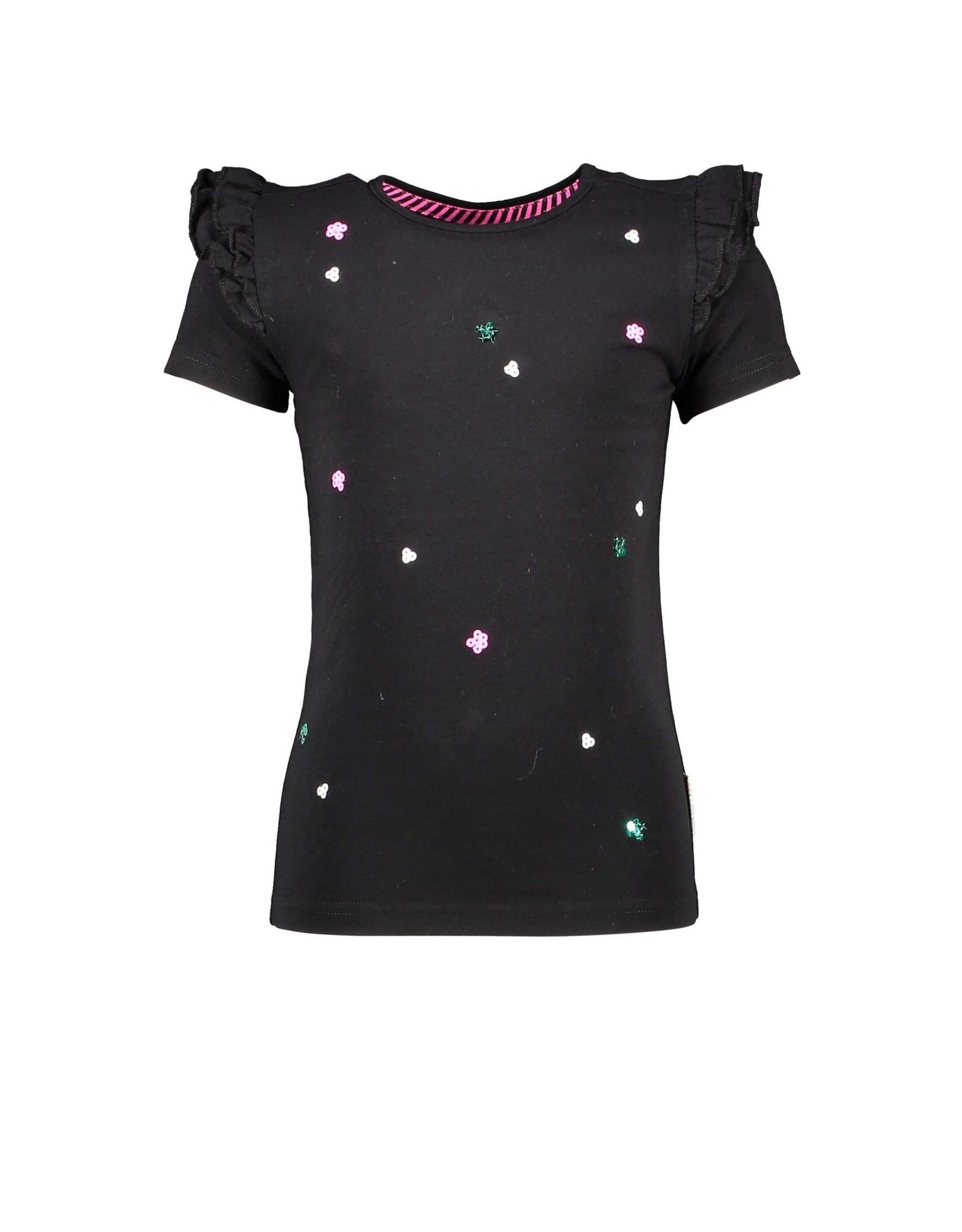 B.Nosy B.Nosy meisjes t-shirt met pailletjes en roesels Black
