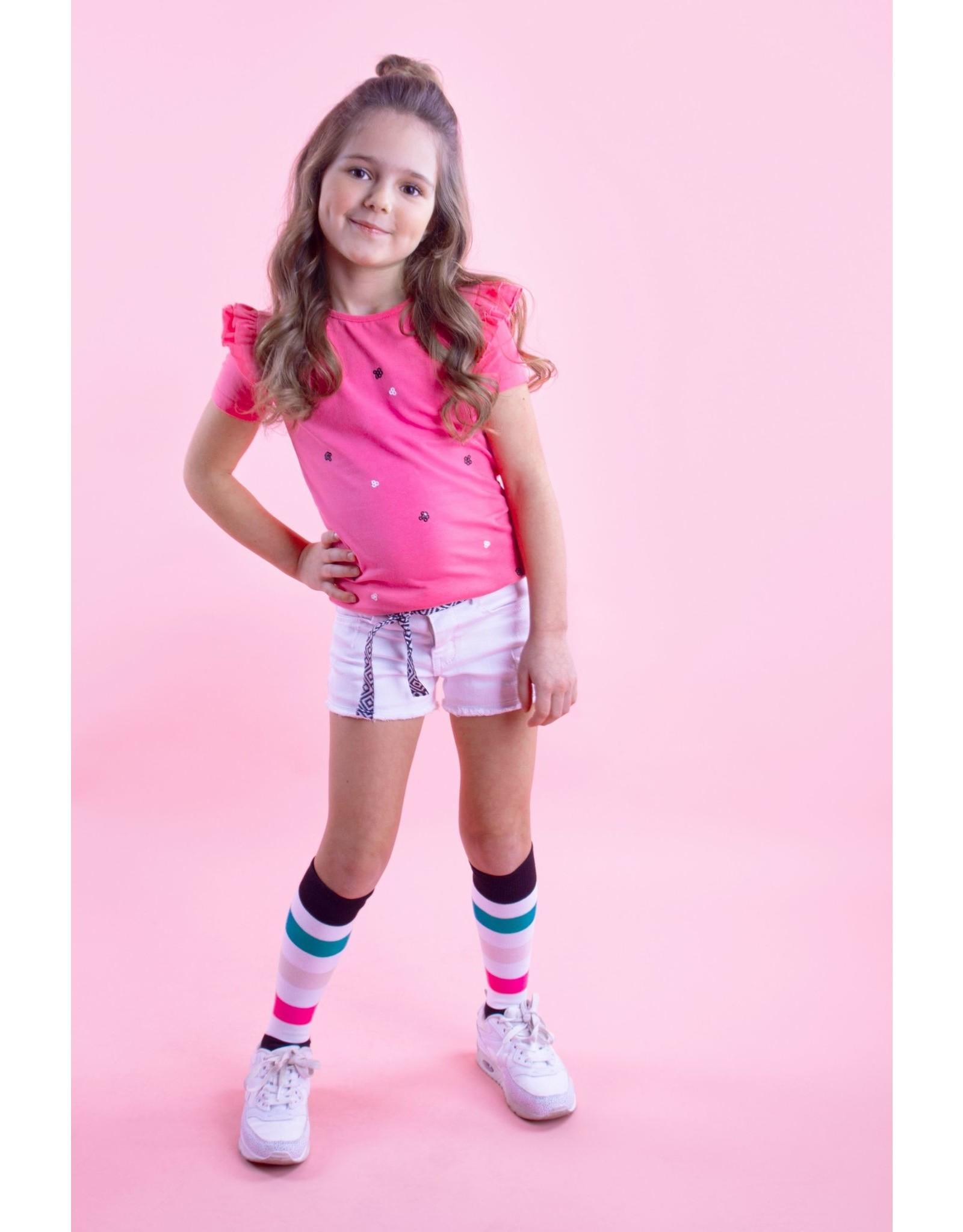 B.Nosy B.Nosy meisjes t-shirt met pailletjes en roesels Knock Out Pink
