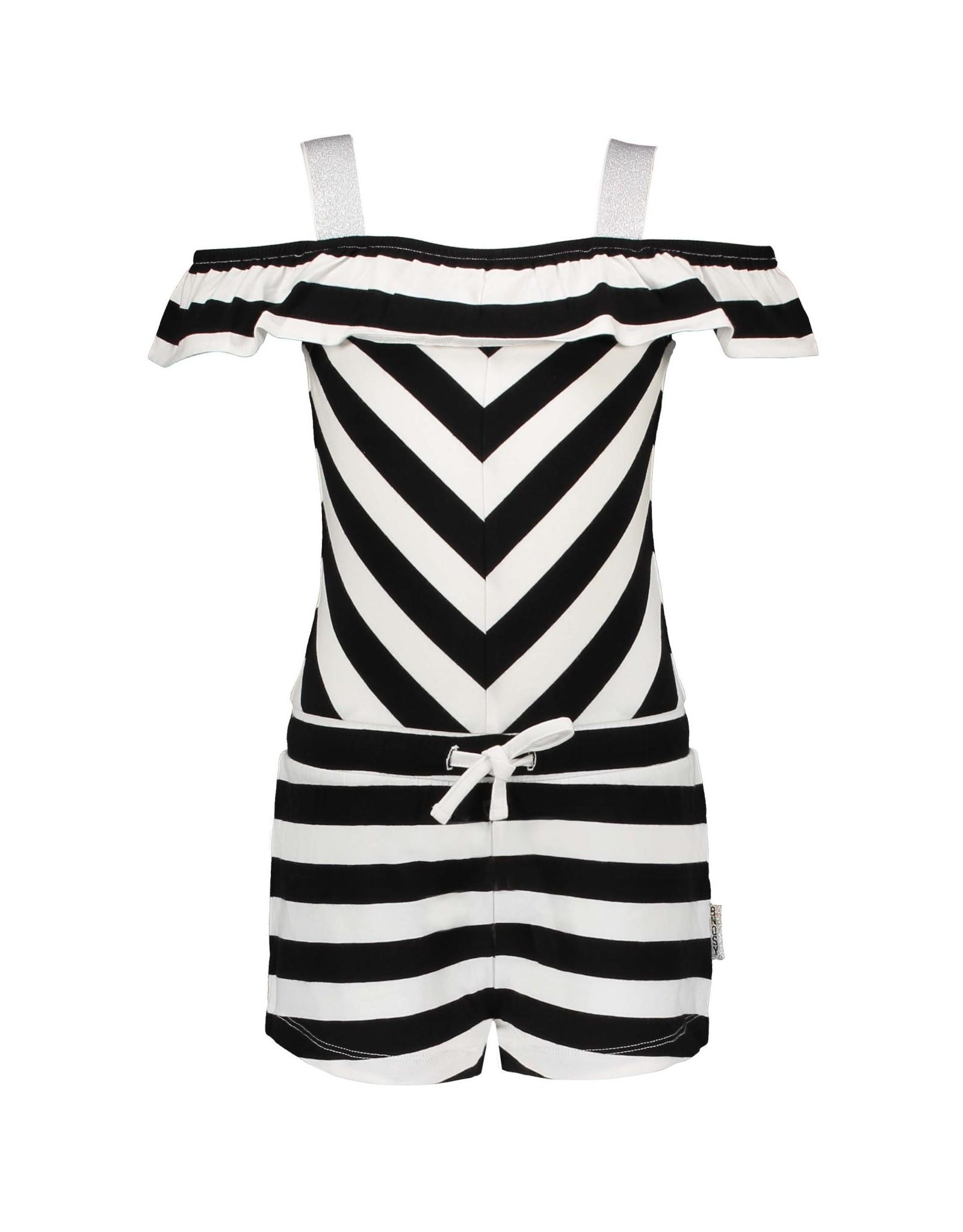 B.Nosy B.Nosy meisjes jumpsuit Cheer Black White Stripe
