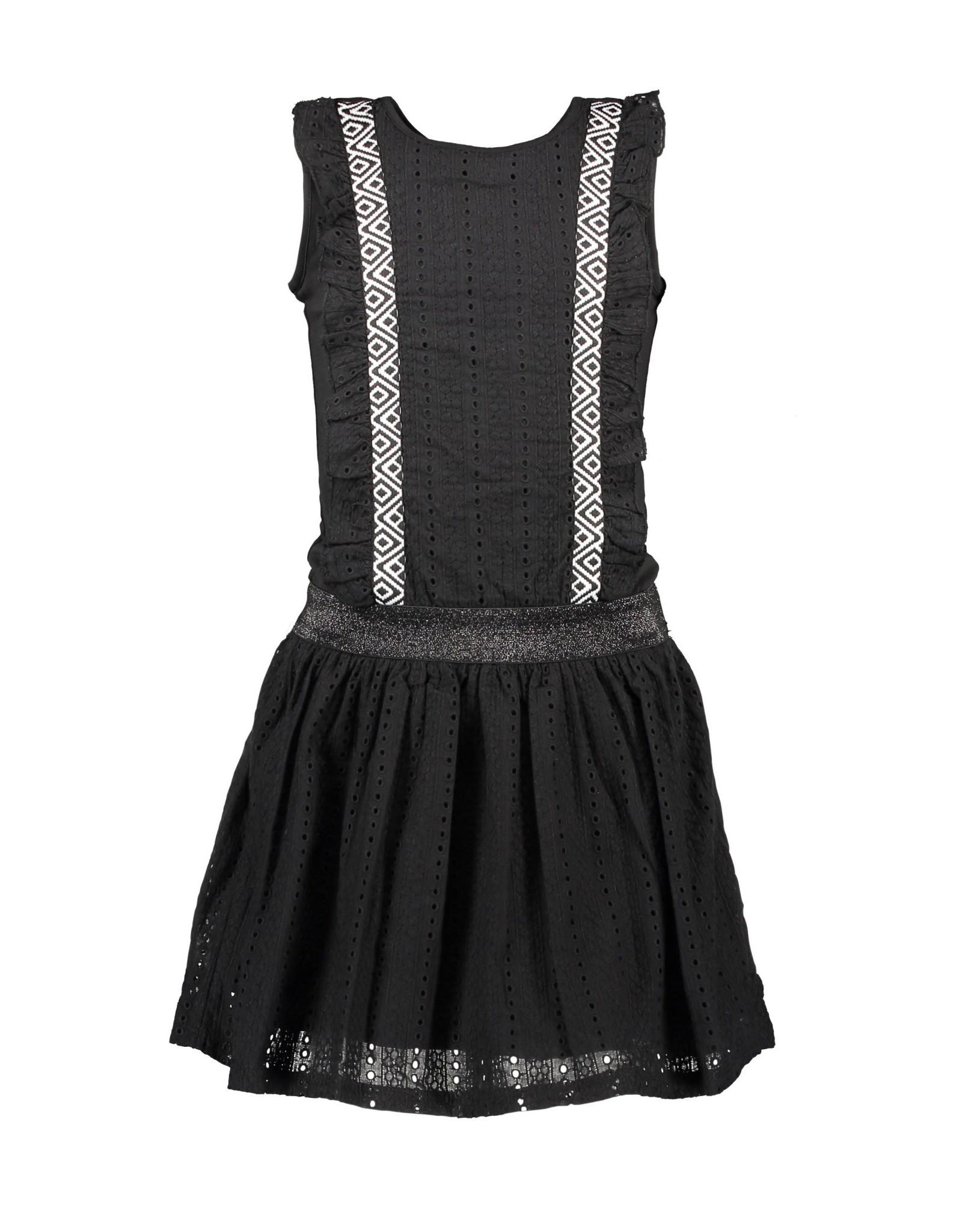 B.Nosy B.Nosy meisjes jurk met kant en roesels Black