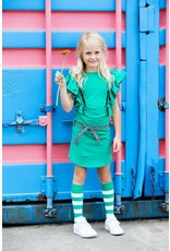 B.Nosy B.Nosy meisjes jurk met roesels en studs Golf Green