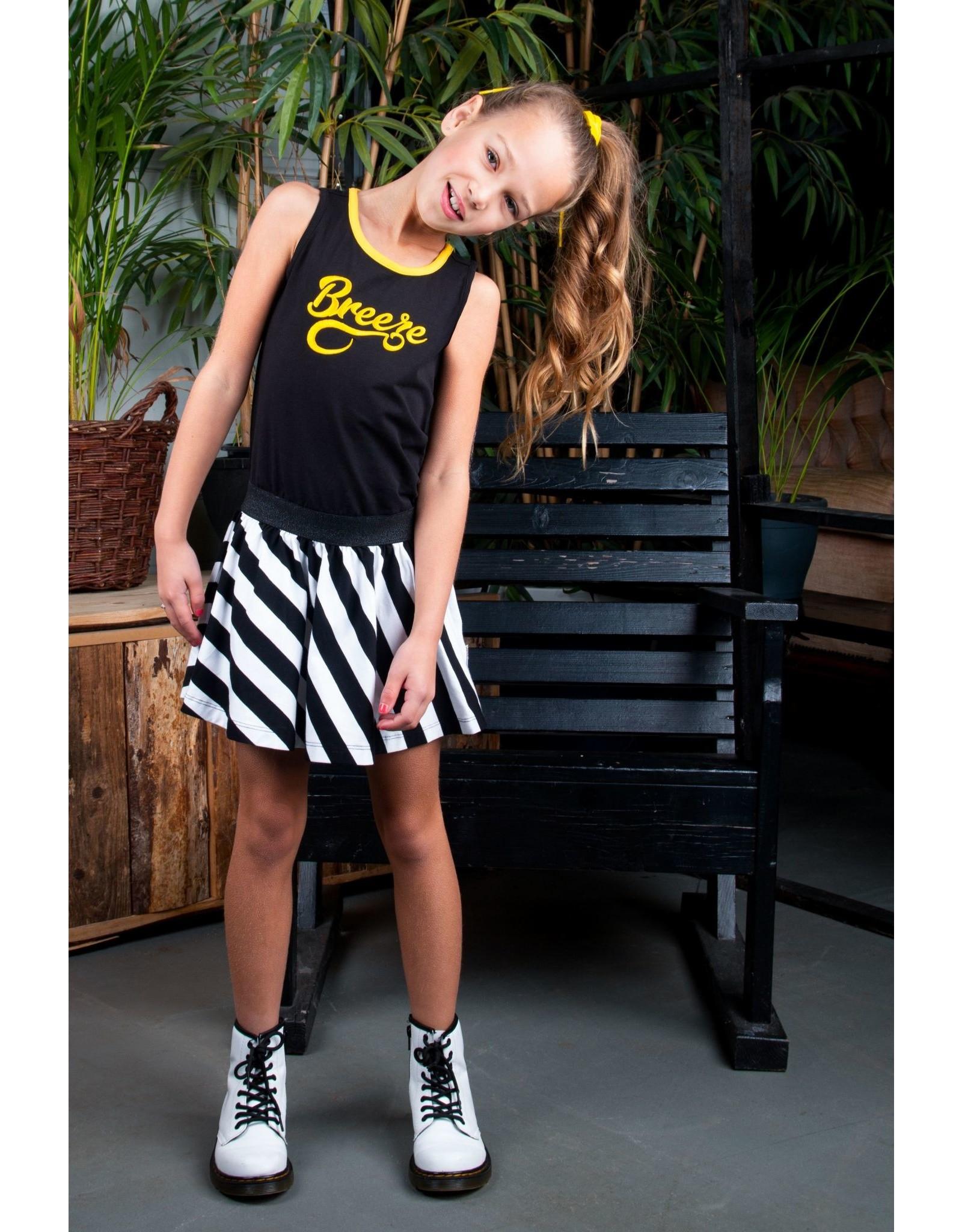 B.Nosy B.Nosy meisjes jurk Breeze met gestreepte rok Black