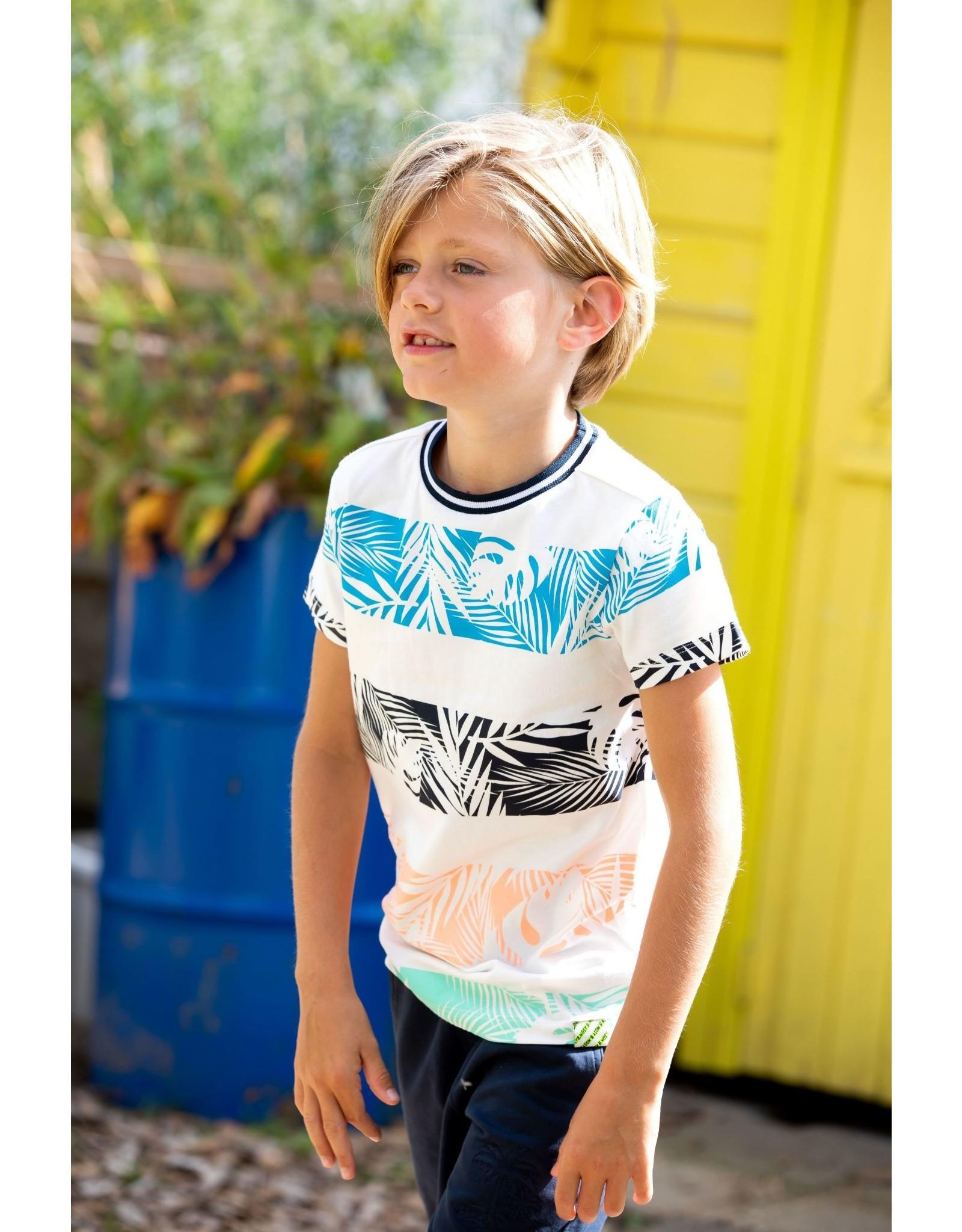 B.Nosy B.Nosy jongens t-shirt Leaves Snow White Stripe