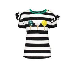 B.Nosy B.Nosy baby meisjes t-shrit Icecream Cheer Black White Stripe