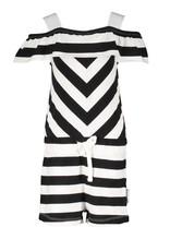 B.Nosy B.Nosy baby meisjes jumpsuit Cheer Black White Stripe