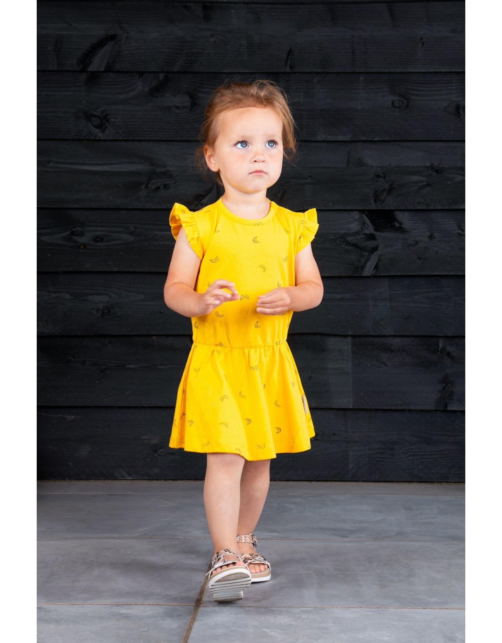 B.Nosy B.Nosy baby meisjes katoenen jurk Cheer Banana Yellow