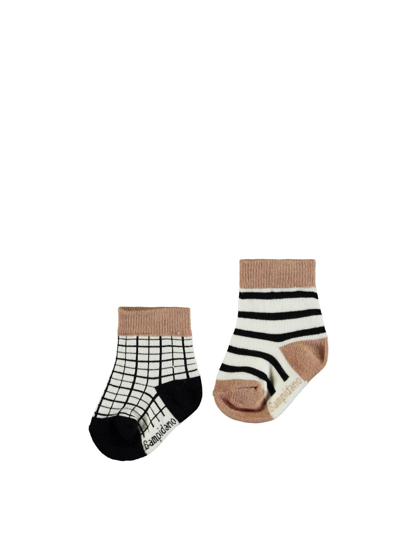 Bampidano Bampidano newborn unisex sokken Flip 2-pack Sloth Anthra Check