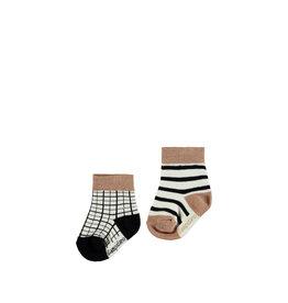 Bampidano Bampidano newborn sokken Flip 2-pack Sloth Anthra Check