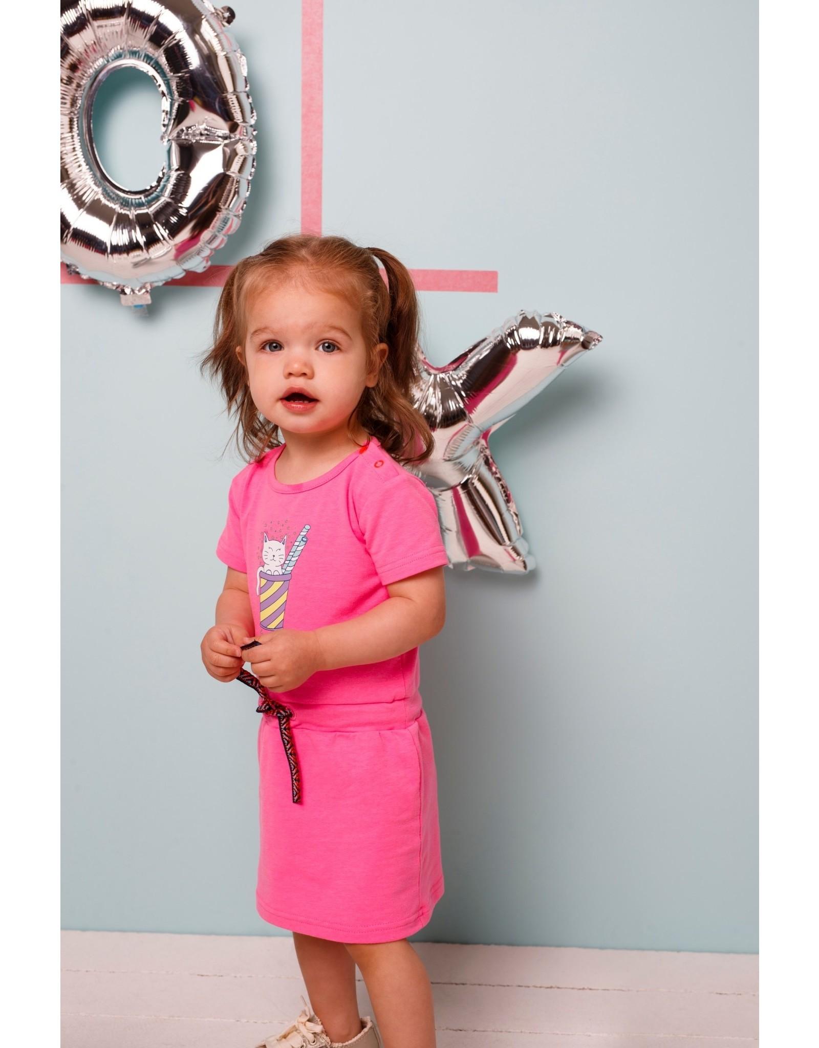 Bampidano Bampidano baby meisjes jurk Emmy Neon Pink