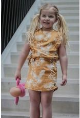 LEVV Levv meisjes linnen jurk Neele Mustard Leaves