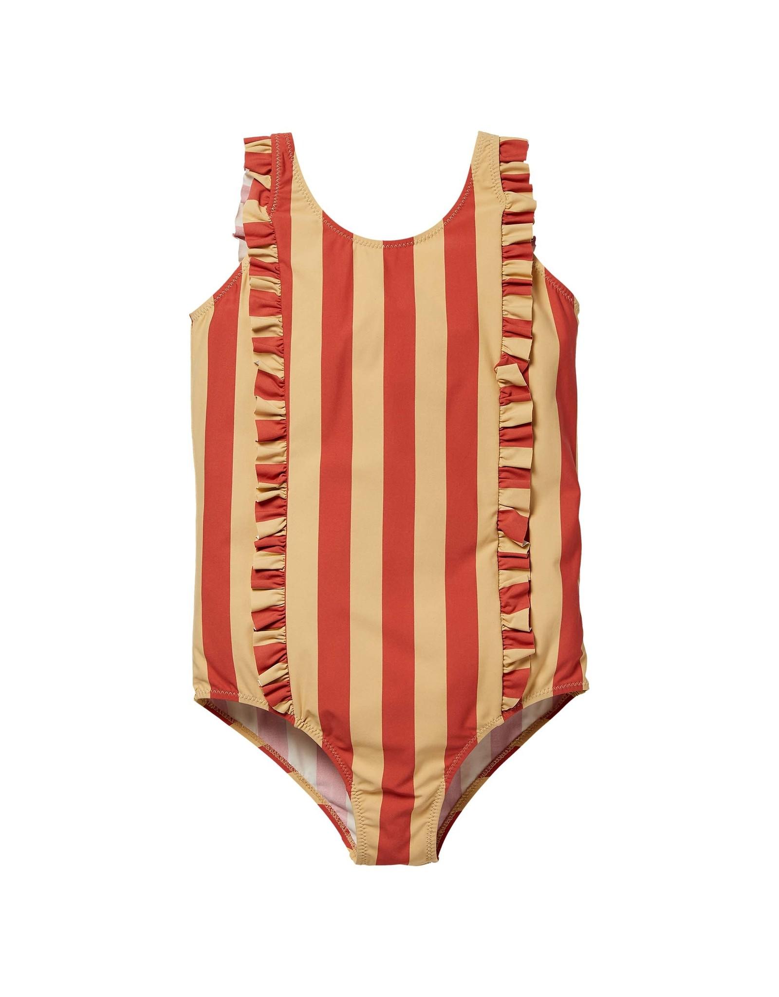 LEVV Levv meisjes badpak Noura Stone Red Stripe