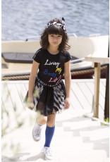 B.Nosy B.Nosy meisjes t-shirt met geborduurde tekst Black