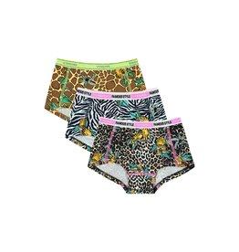 Vingino Vingino meiden Limited Edition ondergoed boxers 3-pack Wildone Multi Brown