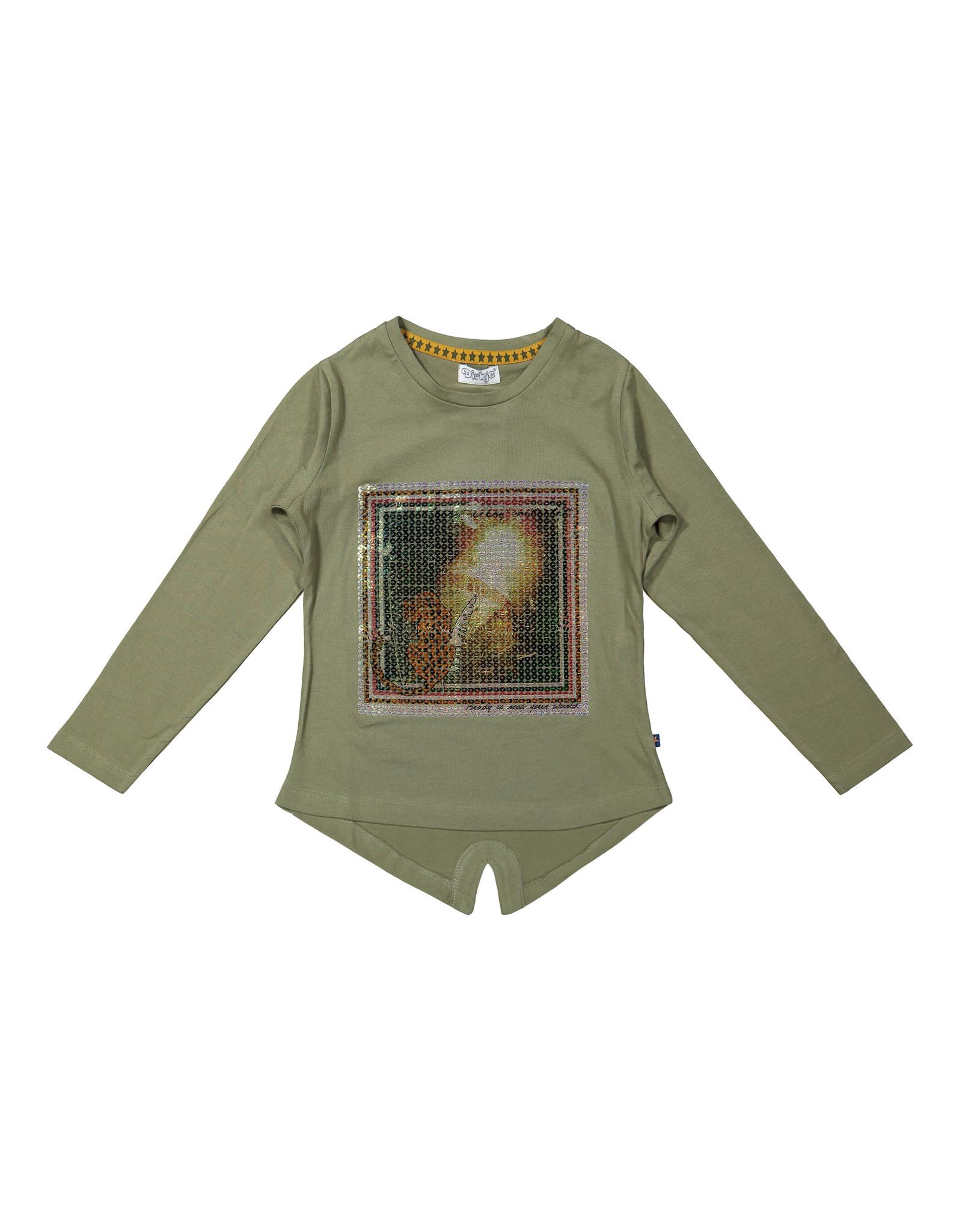 DJ Dutchjeans DJ Dutchjeans meisjes shirt paillet print Army Green