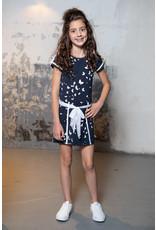 LoFff Loff meiden korte mouwen jurk Big Bow Blue Print