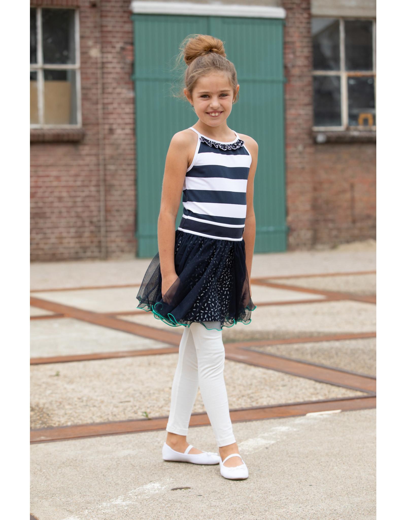 LoFff Loff meiden mouwloze jurk Blockstripe Blue Print