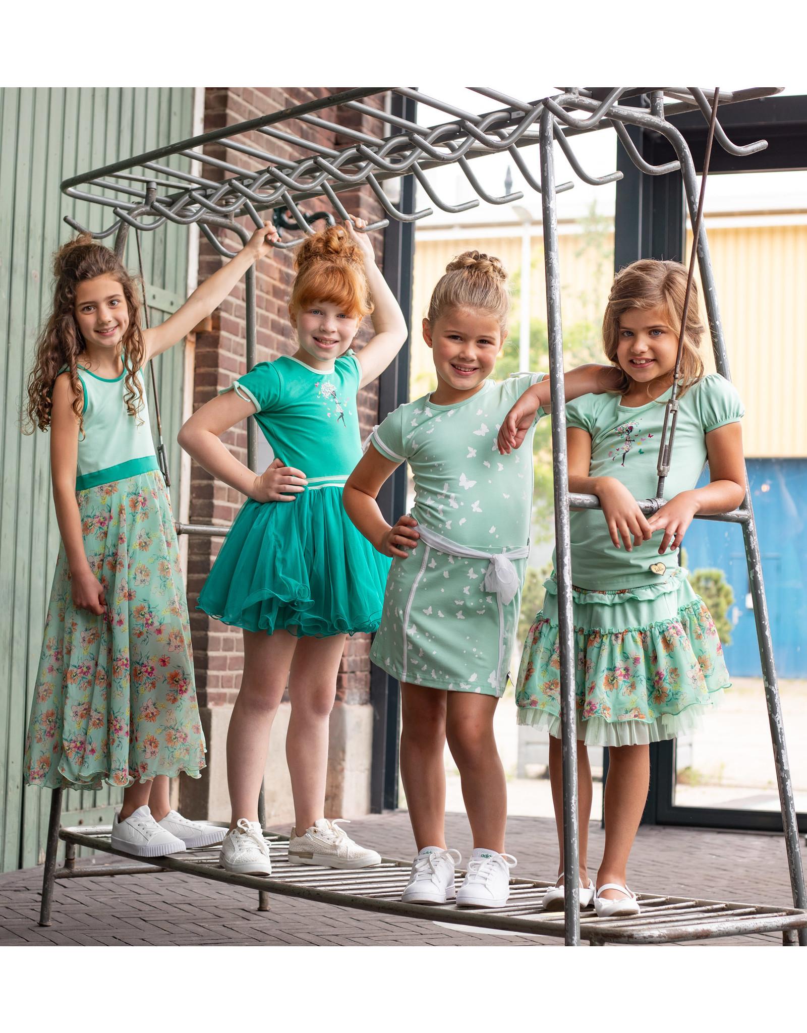 LoFff Loff meiden maxi mouwloze jurk Mint Flower