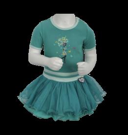 LoFff LoFff baby meisjes korte mouwen jurk Dancing Ocean Green