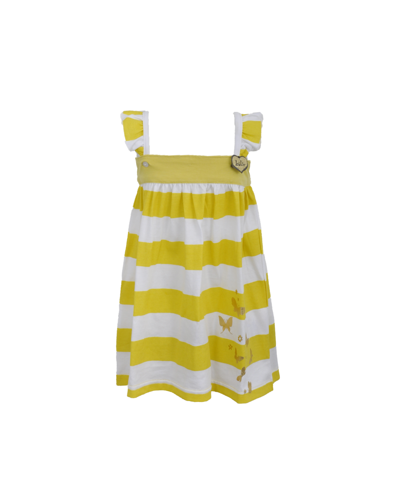 LoFff LoFff baby meisjes mouwloze jurk Block Stripe Yellow