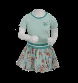 LoFff LoFff baby meisjes korte mouwen jurk Dancing Mint Flower